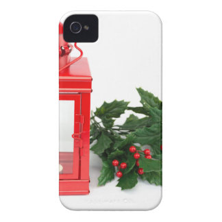 Red lantern with tealight holly twigs and berries iPhone 4 Case-Mate cases