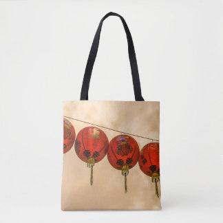 Red lanterns all-over-print tote bag