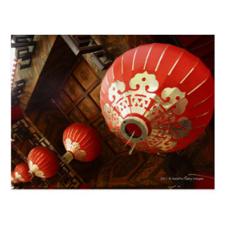 red lanterns hanging from temple roof postcard