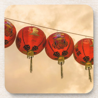 Red lanterns in Chinatown hard plastic coasters