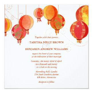 "Red Lanterns Modern White Wedding 5.25"" Square Invitation Card"
