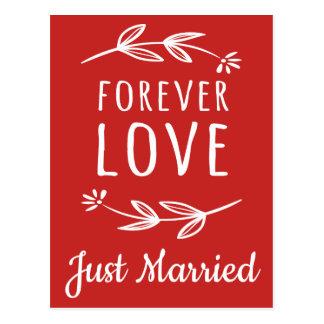 Red Laurel Leaf Just Married Wedding Announcement Postcard
