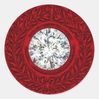 Red Laurel Wreath and Diamond Envelope Seal Round Sticker