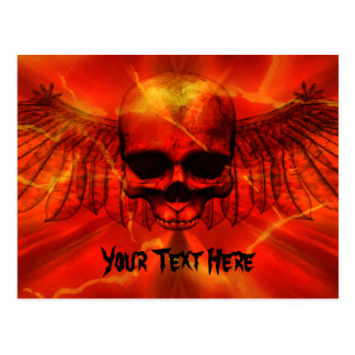 Red Lava Burst Winged Skull Postcard