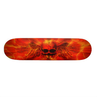 Red Lava Burst Winged Skull Skate Board