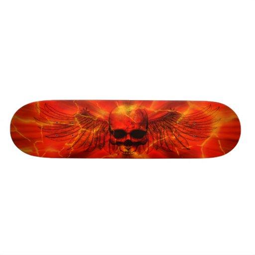Red Lava Burst Winged Skull Skate Decks