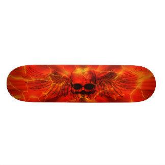 Red Lava Burst Winged Skull Skateboard Deck