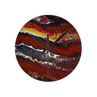Red Lava Round Clock