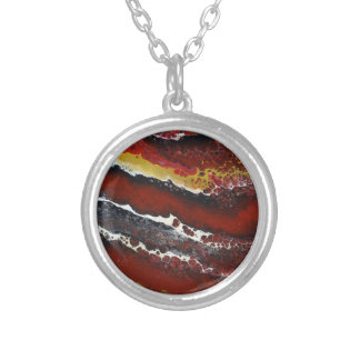 Red Lava Silver Plated Necklace