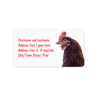 Red Layer Hen Tall Profile Photo Label