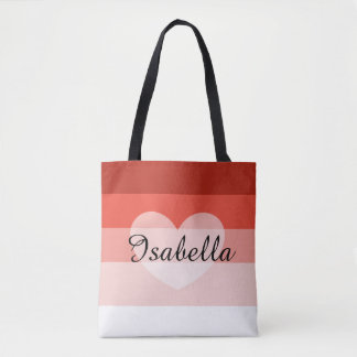 Red Layers Personalized Name Tote Bag