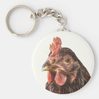 Red Laying Hen Chicken Photo Basic Round Button Keychain