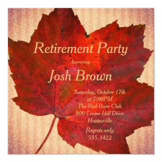 """Red Leaf Fall Retirement Party 5.25"""" Square Invitation Card"""