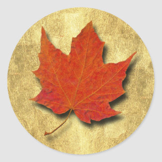Red Leaf on Gold Round Sticker
