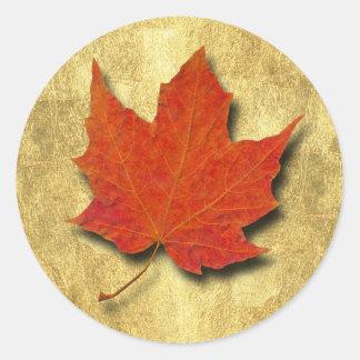 Red Leaf on Gold Round Sticker