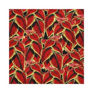 Red Leaf Pattern On Black Canvas Print