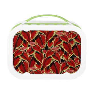 Red Leaf Pattern On Black Lunch Box