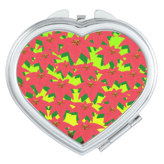 Red Leafs Heart Compact Mirror