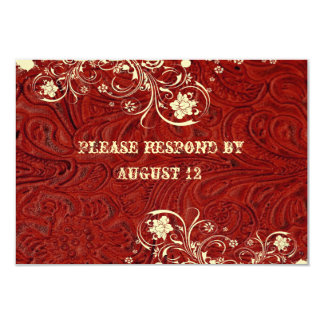 Red Leather and Lace RSVP with envelopes Card