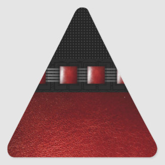 Red Leather Black Texture Triangle Sticker