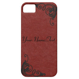 Red Leather Image with Tooled Scrolls in Black Case For The iPhone 5