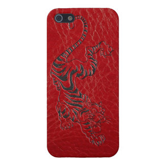Red Leather Tiger Cover For iPhone 5/5S