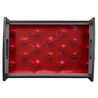 Red Leather Upholstery texture pattern elegant Serving Tray