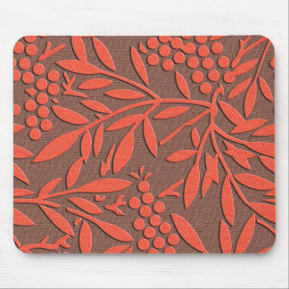 Red leaves and berries japanese pattern mouse pad