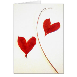 Red Leaves as Hearts Card
