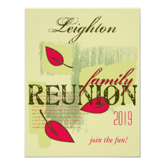 """Red Leaves Family Reunion 4.25"""" X 5.5"""" Invitation Card"""