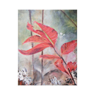 Red Leaves in Morning Mist Canvas Print