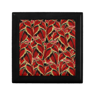 Red Leaves Pattern On Black Gift Box