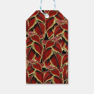 Red Leaves Pattern On Black Gift Tags