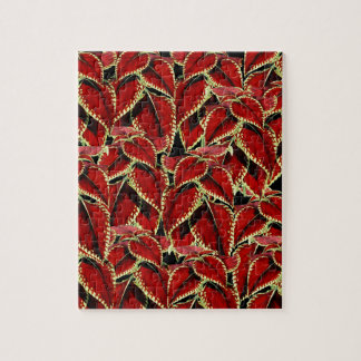 Red Leaves Pattern On Black Jigsaw Puzzle