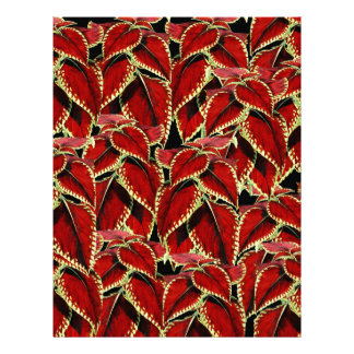 Red Leaves Pattern On Black Letterhead