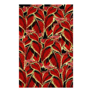 Red Leaves Pattern On Black Stationery