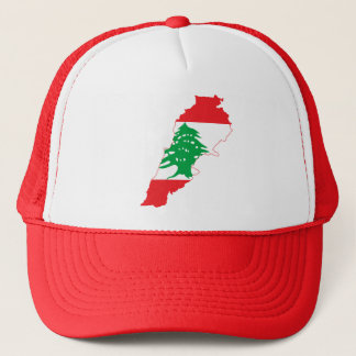 RED Lebanon Flag Map Trucker Hat
