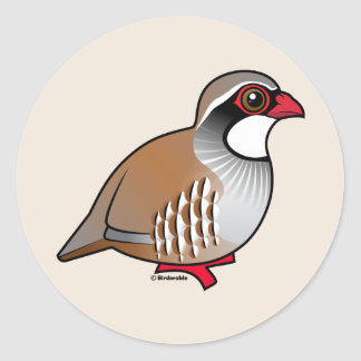 Red-legged Partridge Classic Round Sticker