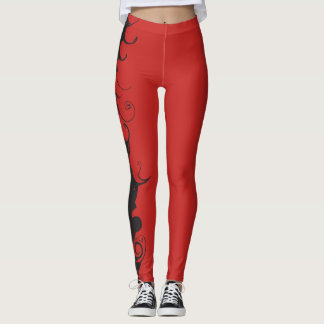 Red leggings with Black