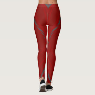 Red leggings with grey Strips