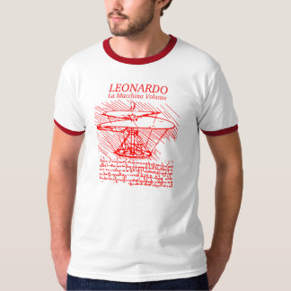 Red Leonardo da Vinci Helicopter T-Shirt