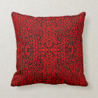 Red Leopard  Abstract Throw Pillow
