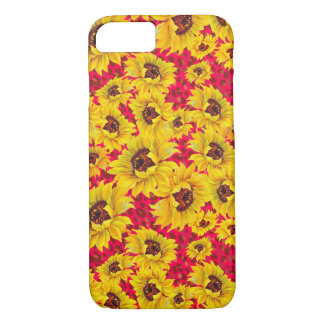red leopard and sunflower floral iPhone case