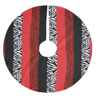Red Leopard and Zebra Custom Animal Print Brushed Polyester Tree Skirt