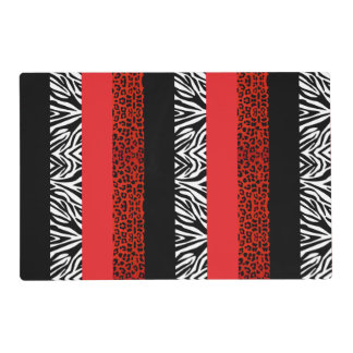Red Leopard and Zebra Custom Animal Print Laminated Placemat