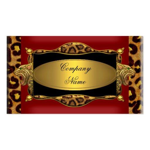 Red Leopard Black Gold Elegant Boutique 7 Business Card Template