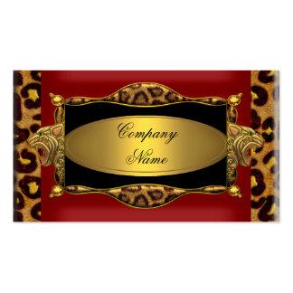 Red Leopard Black Gold Elegant Boutique 7 Pack Of Standard Business Cards