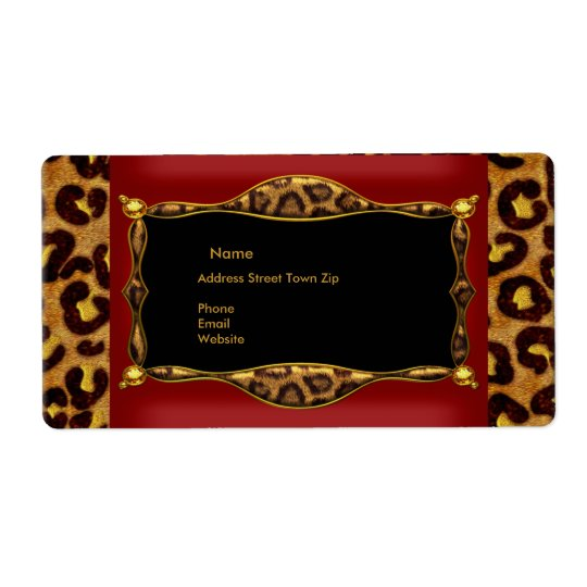 Red Leopard Black Gold Label Address Shipping Label