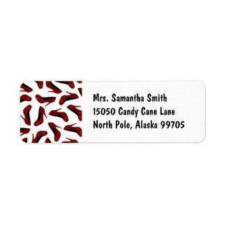 Red Leopard High Heels Print Return Address Label