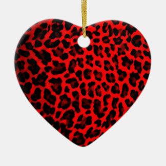 Red Leopard Print Ceramic Ornament